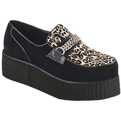 Unisex Demonia V-Creeper-509S Suede-Cheetah Fur Shoe Black Punk Psychobilly