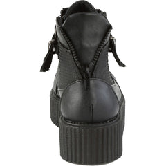Unisex Demonia V-Creeper-566 Oxford Creeper Bootie Black Goth Punk Spikes