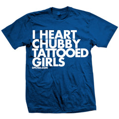 Unisex Dpcted I Heart Chubby Tattooed Girls T-Shirt Ink Inked Tattoo Lifestyle