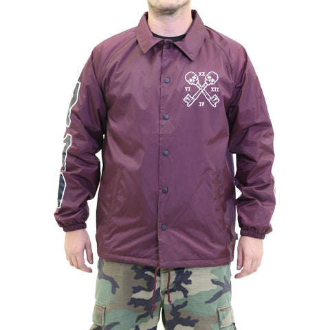 Unisex Fatal The Chosen Coaches Jacket Burgundy Skull Skeleton Keys Coffins