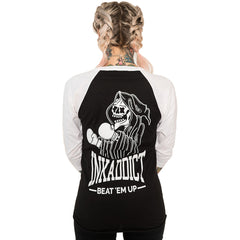 Unisex InkAddict Beat 'Em Up Baseball T-Shirt White/Black Grim Reaper