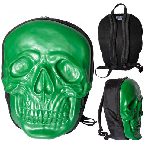 Unisex Kreepsville Skull Backpack Green Horror Punk Goth