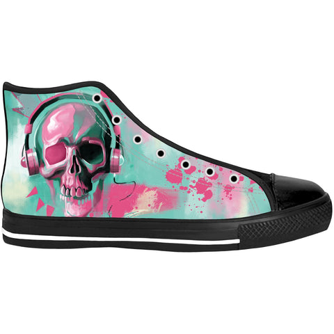 Unisex Pastel Skull High Top Canvas Shoes