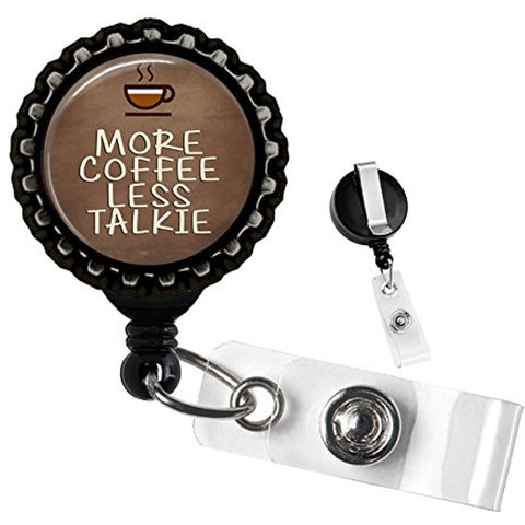 Project Pinup More Coffee Less Talkie Identification Badge Reel Black