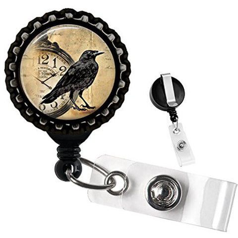 Project Pinup Raven With Clock Bottlecap Retractable Badge Reel Black Goth Bird