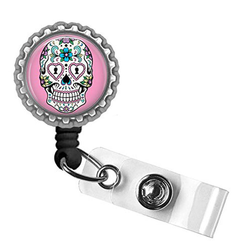 Project Pinup Sugar Skull Identification Badge Reel Silver/Pink Day of the Dead