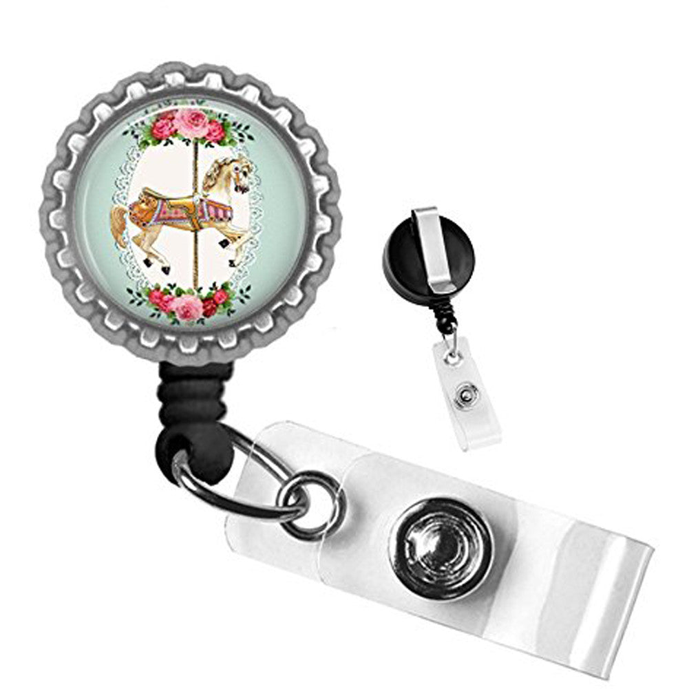 Project Pinup Vintage Carousel Horse Badge Reel Silver Flowers