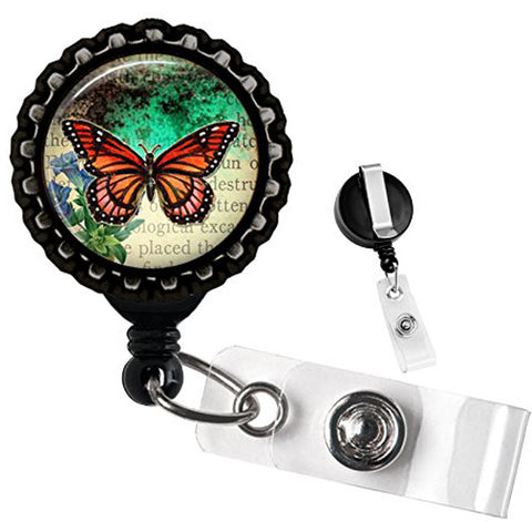 Project Pinup Monarch Butterfly Bottlecap Retractable Badge Reel Black
