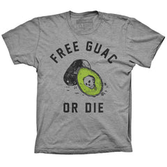 Unisex Pyknic Free Guac or Die T-Shirt Heather Grey Food Funny