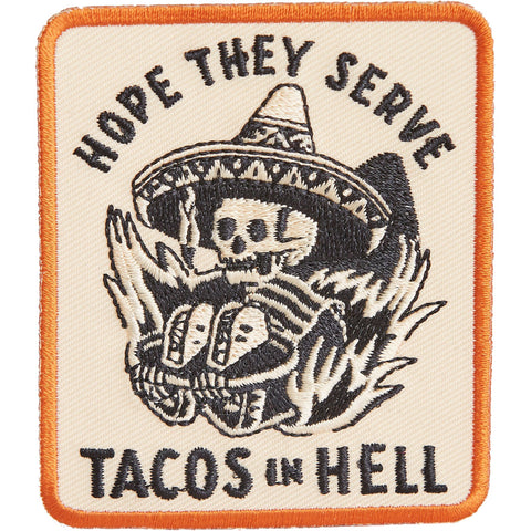 Pyknic Hope They Serve Tacos In Hell Patch Black Skeleton Sombrero Flames Food