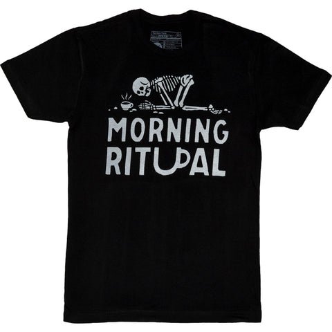Unisex Pyknic Morning Ritual Coffee T-Shirt Black Skeleton Pray Food Funny