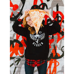 Unisex Pyknic Slice of Heaven Crewneck Sweatshirt Black Winged Pizza Food Funny