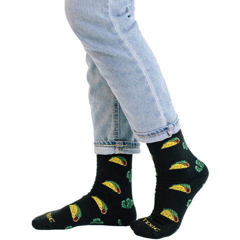 Pyknic Taco Socks Black Food Funny