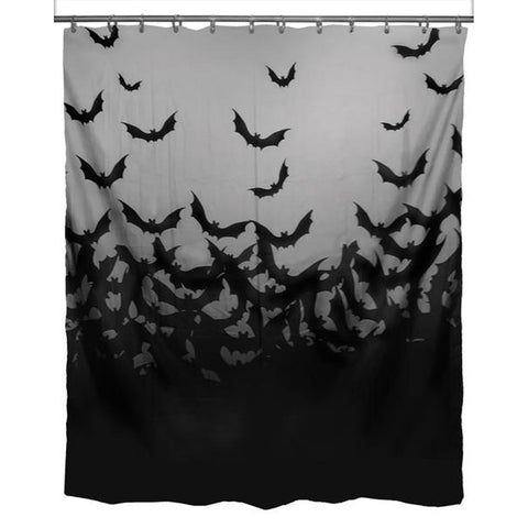 Rat Baby Fly Me To The Moon Bats Halloween Shower Curtain Black Grey