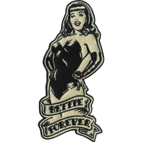 Retro-a-go-go! Bettie Page Forever Patch Black Vintage Pin Up