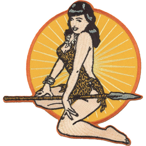 Retro-a-go-go! Bettie Page Jungle Girl Patch Yellow/Brown Vintage Pin Up