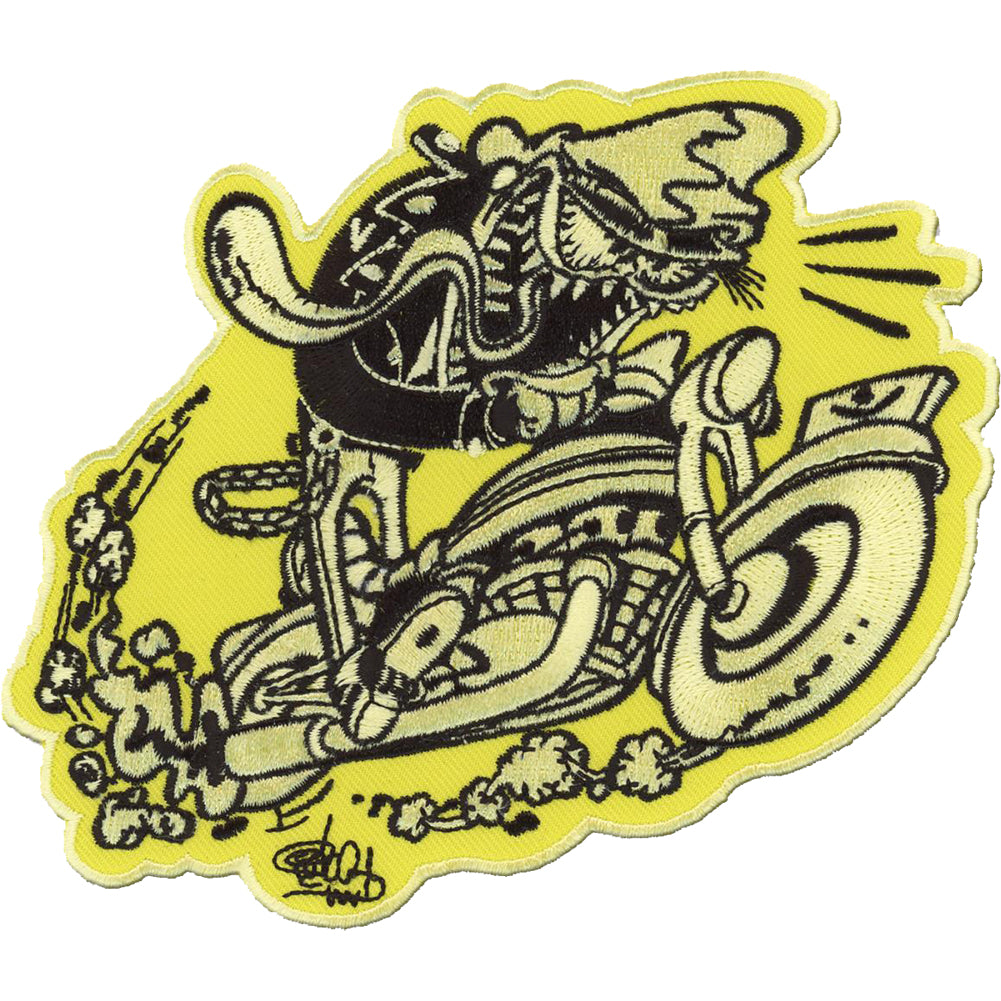 Retro-a-go-go! Cycle Freak Patch Yellow/Black Motorcycle Psychobilly Monster