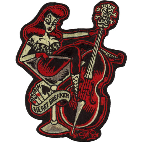 Retro-a-go-go! Heart Breaker Patch Red/Black Pin Up Rockabilly Music Psychobilly