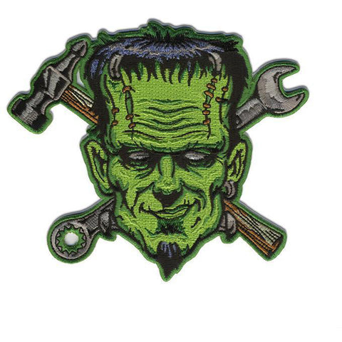 Retro-a-go-go! Spare Parts Patch Green/Grey Frankenstein Hammer Wrench Hot Rod