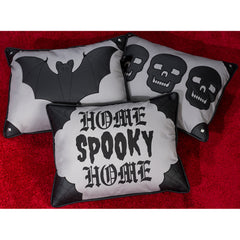 Sourpuss Canvas Bat Pillow Grey/Black Halloween Goth Home Décor Housewares
