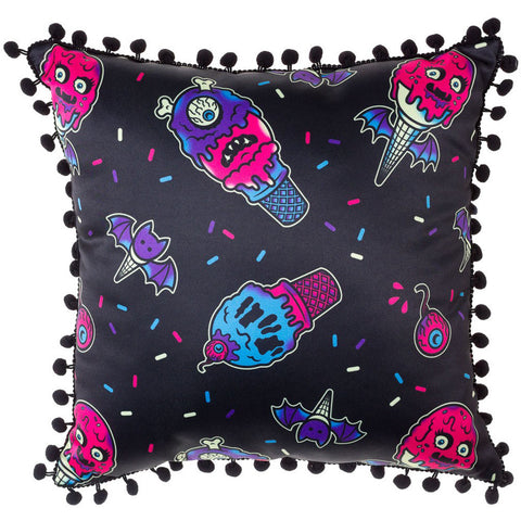 Sourpuss Ice Creep Cones Pillow Black