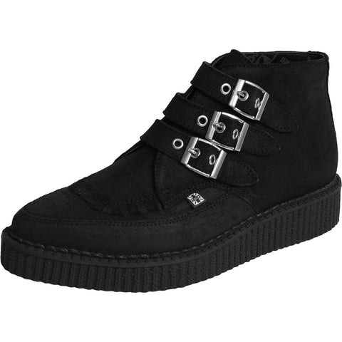Unisex T.U.K. 3 Buckle Waxy Suede Pointed Creeper Boot Black Punk Goth Skate
