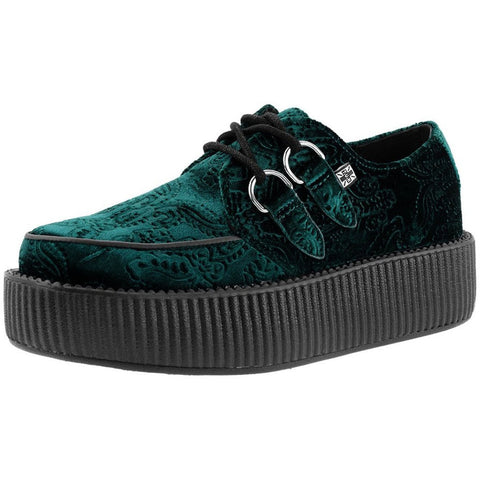 Unisex T.U.K. Embossed Velvet Creeper Emerald Green Punk Rockabilly