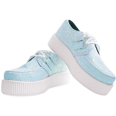 Unisex T.U.K. Iridescent Glitter Creeper White Alternative Sparkly