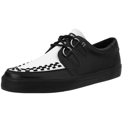Unisex T.U.K. Leather D-Ring VLK Sneaker Black & White  Punk Skate