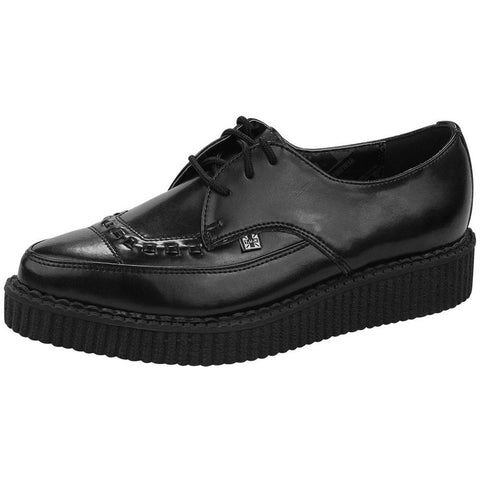 Unisex T.U.K. Leather Lace Up Pointed Creeper Black Punk Rockabilly Goth