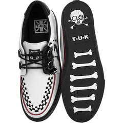 Unisex T.U.K. Leather Skull Print D-Ring VLK Sneaker White Punk Skate