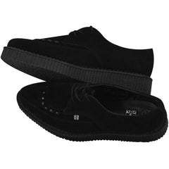 Unisex T.U.K. Suede Pointed Buckle Creeper Black Punk Rockabilly Goth