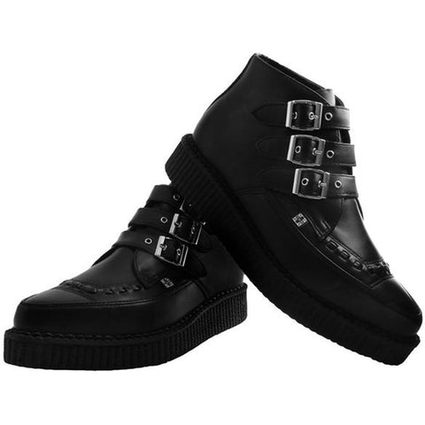 Unisex T.U.K. TUKskin 3-Buckle Pointed Creeper Boot Black Punk Goth Alternative