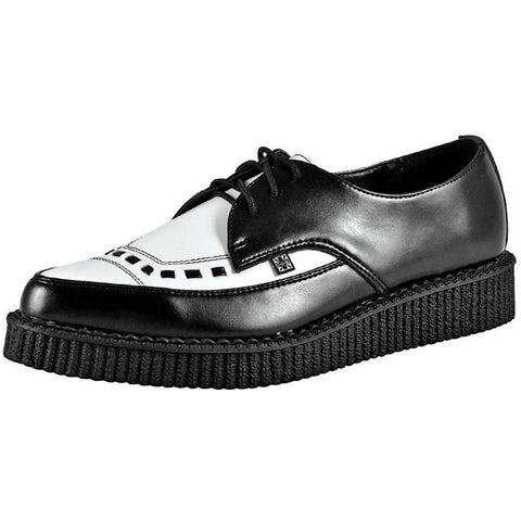 Unisex T.U.K. Two-Tone Pointed Creeper Black/White Punk Rockabilly