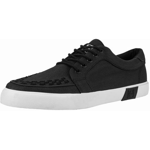 Unisex T.U.K. Waxed Twill No-Ring White Sole Vegan VLK Sneaker Black Punk Skate