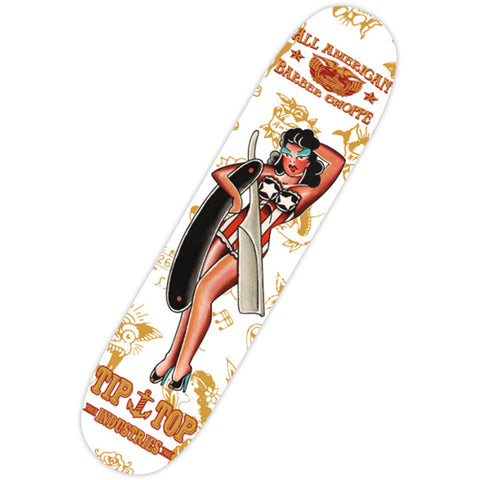 Tip Top Industries All American Skate Deck White Traditional Tattoo Flash Pin Up
