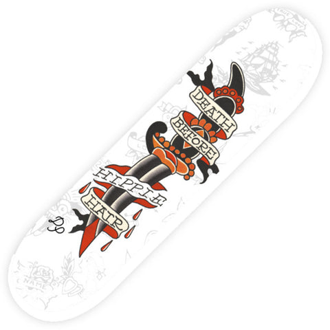 Tip Top Industries Death Before Hippy Hair Skatedeck Barber Tattoo Flash Art