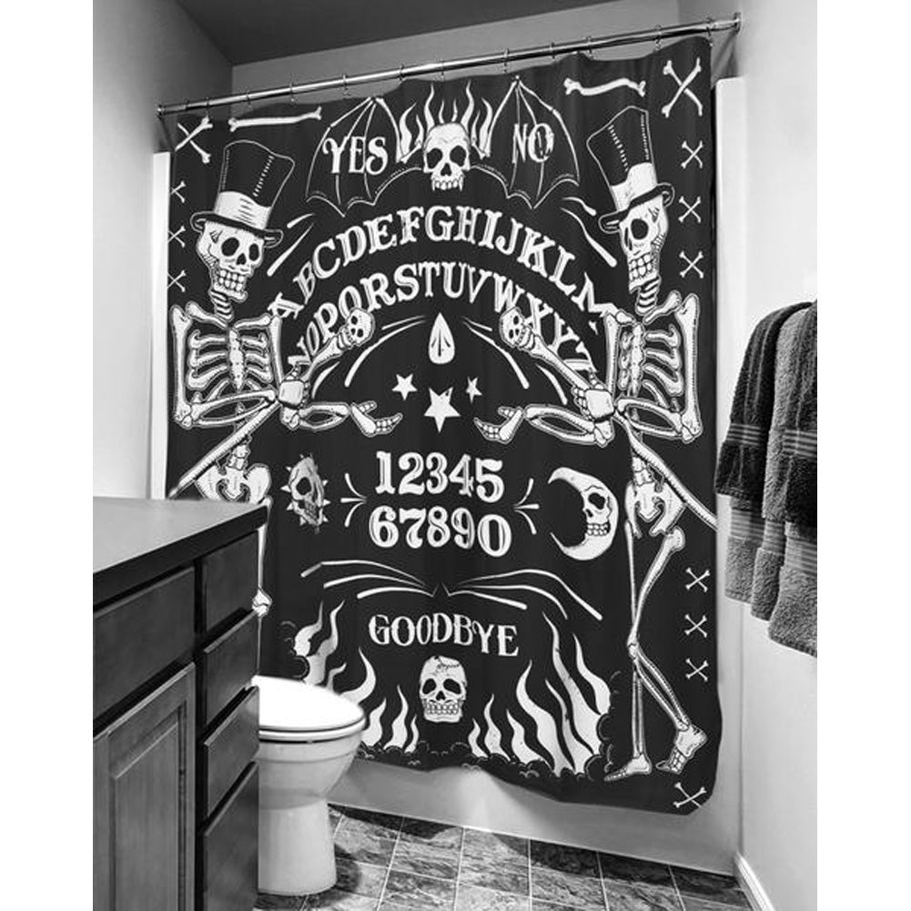 Too Fast Apparel Skeleton Ouija Board Tattoo Shower Curtain Black Goth Occult
