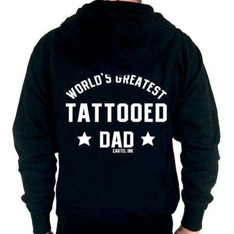 Men's Cartel Ink World's Greatest Tattooed Dad Zippered Hoodie Inked Parent