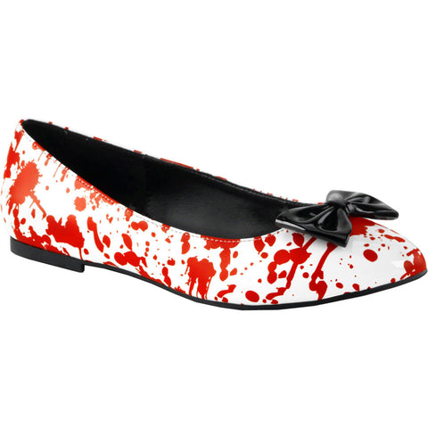 Women's Funtasma VAIL-20BL Pointed Toe Flats White/Red Bloody Horror Halloween