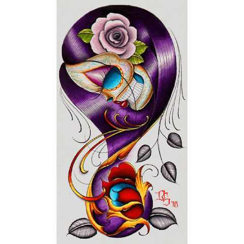 Violet by Dave Sanchez Canvas Giclee Mexican Day of the Dead Sugar Skull Tattoo