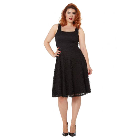 Voodoo Vixen Ashley Lace Flare Dress Black Retro Vintage Rockabilly Pin Up