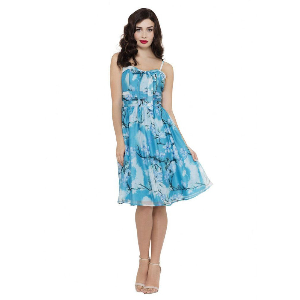 Voodoo Vixen Clara Blue Cherry Blossom Flare Dress Blue Retro Vintage Rockabilly