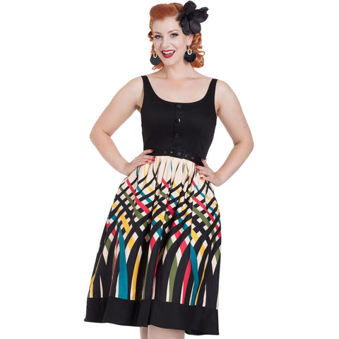 Voodoo Vixen Jean Border Print Flaired Dress Plus Size Black/Cream Retro Vintage