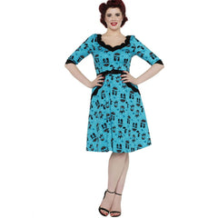 Voodoo Vixen Katnis Cats In The Rain Flare Dress Blue Vintage Rockabilly Pin Up