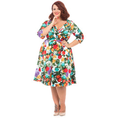 Voodoo Vixen Multi Color Floral Sleeve Dress Retro Vintage Rockabilly