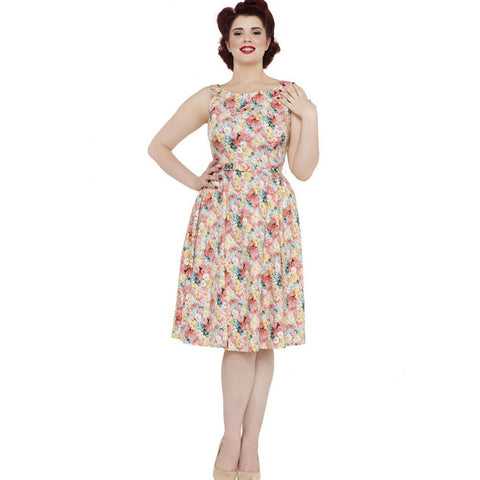 Voodoo Vixen Pollyanna Painted Floral Flare Dress Retro Vintage Rockabilly