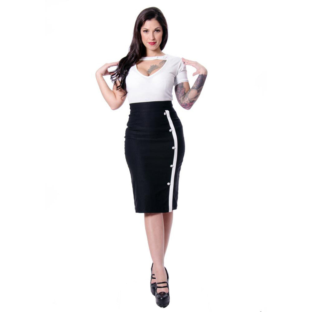 Women's Steady Clothing Sarina Button Slit Pencil Skirt Black Rockabilly Pinup