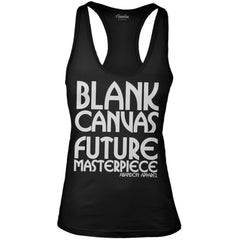 Women's Abandon Apparel Blank Canvas Future Masterpiece Tank Top Black Ink Inked