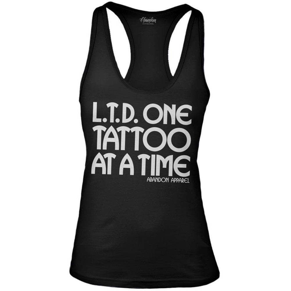 Women's Abandon Apparel L.T.D. One Tattoo At A Time Tank Top Black Ink Inked